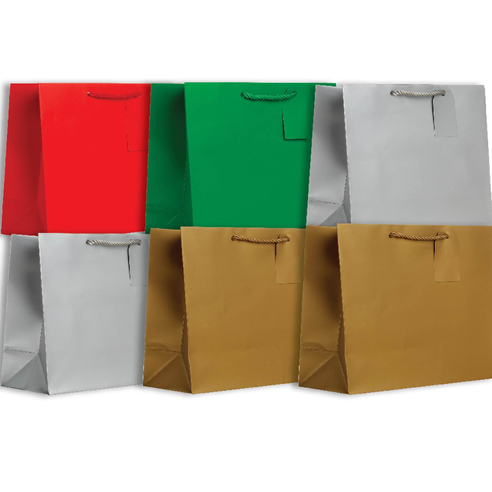 Jillson & Roberts Solid Color Matte Large Gift Bag Assortment, Christmas (6 Bags)
