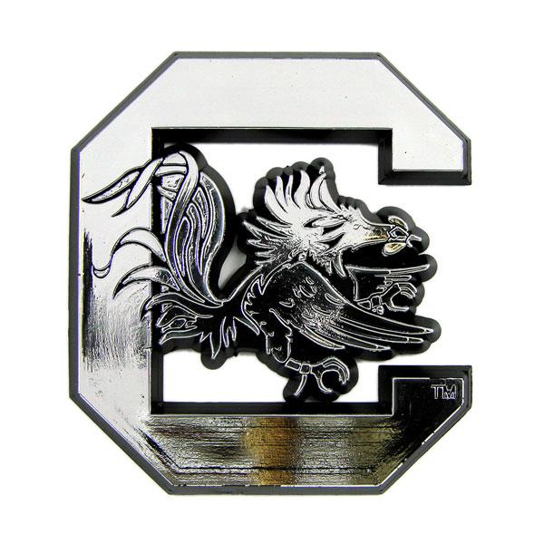 South Carolina Gamecocks Silver Auto Emblem Decal Sticker