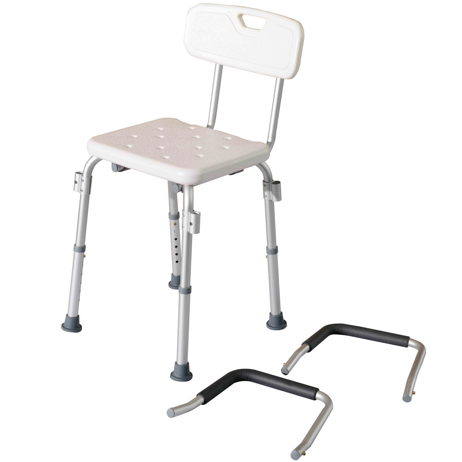 Hom Adjustable Medical Shower Chair w Arms and Backrest