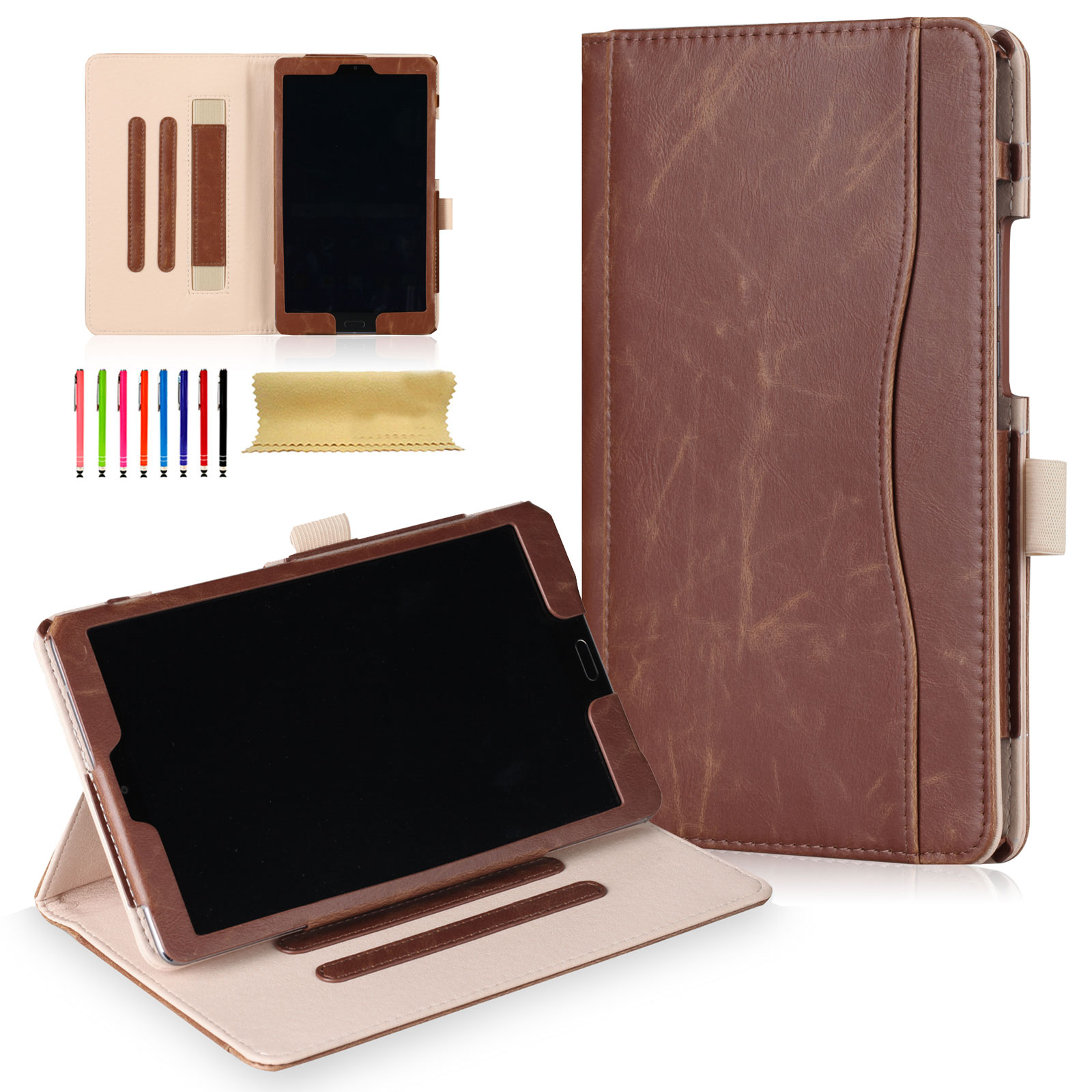 Huawei MediaPad M5 8.4-inch Tablet Case, Goodest Slim Shell Book Style Folio Flip Stand Cover Case with Auto Wake/ Sleep, Document Slots for Huawei MediaPad M5 8.4 Inch 2018 Version Tablet, Brown