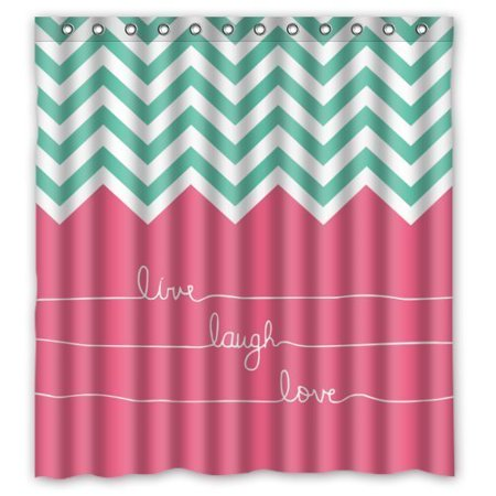 GreenDecor Cute Hipster Quotes Live Love Laugh In Teal And Pink Chevron Zigzag Waterproof Shower Curtain Set with Hooks Bathroom Accessories Size 66x72 inches ()