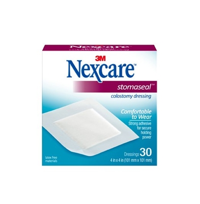 "Nexcare Stomaseal Colostomy Dressing, 4"" X 4"" Durapore Pad, 3M 1507 - Box of 30"