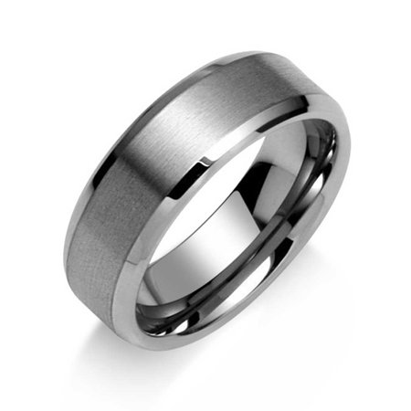 Wide Polished Beveled Edge Brushed Matte Couples Wedding Band Tungsten Ring For Men Comfort Fit 7MM