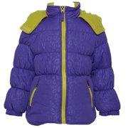 Little Girls Purple Lime Zipper Hooded Winter Puffer Coat 3T