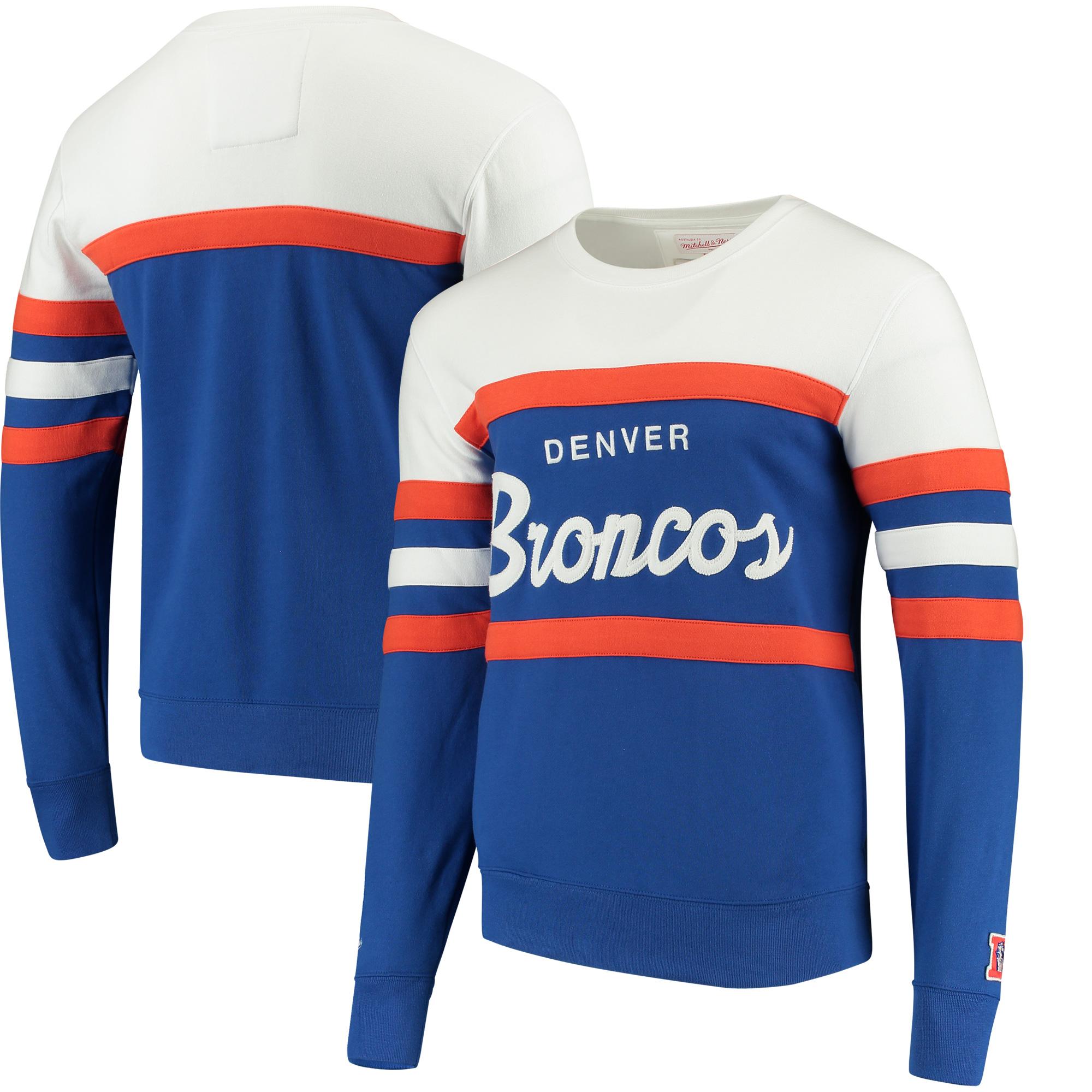 Denver Broncos Mitchell & Ness Head Coach Crew Sweater - Royal