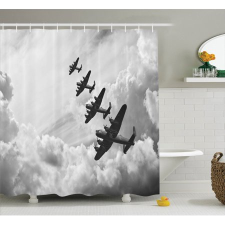 Airplane decor shower curtain set retro image of for Decor 6 air force