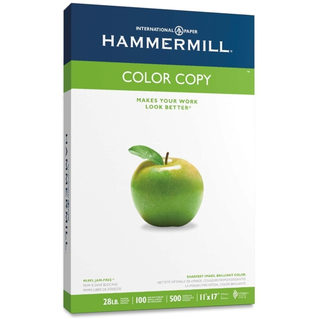"Hammermill Color Copy Paper - Ledger/Tabloid - 11"" x 17"" - 28 lb Basis Weight - 0% Recycled Content - 100 Brightness - W"
