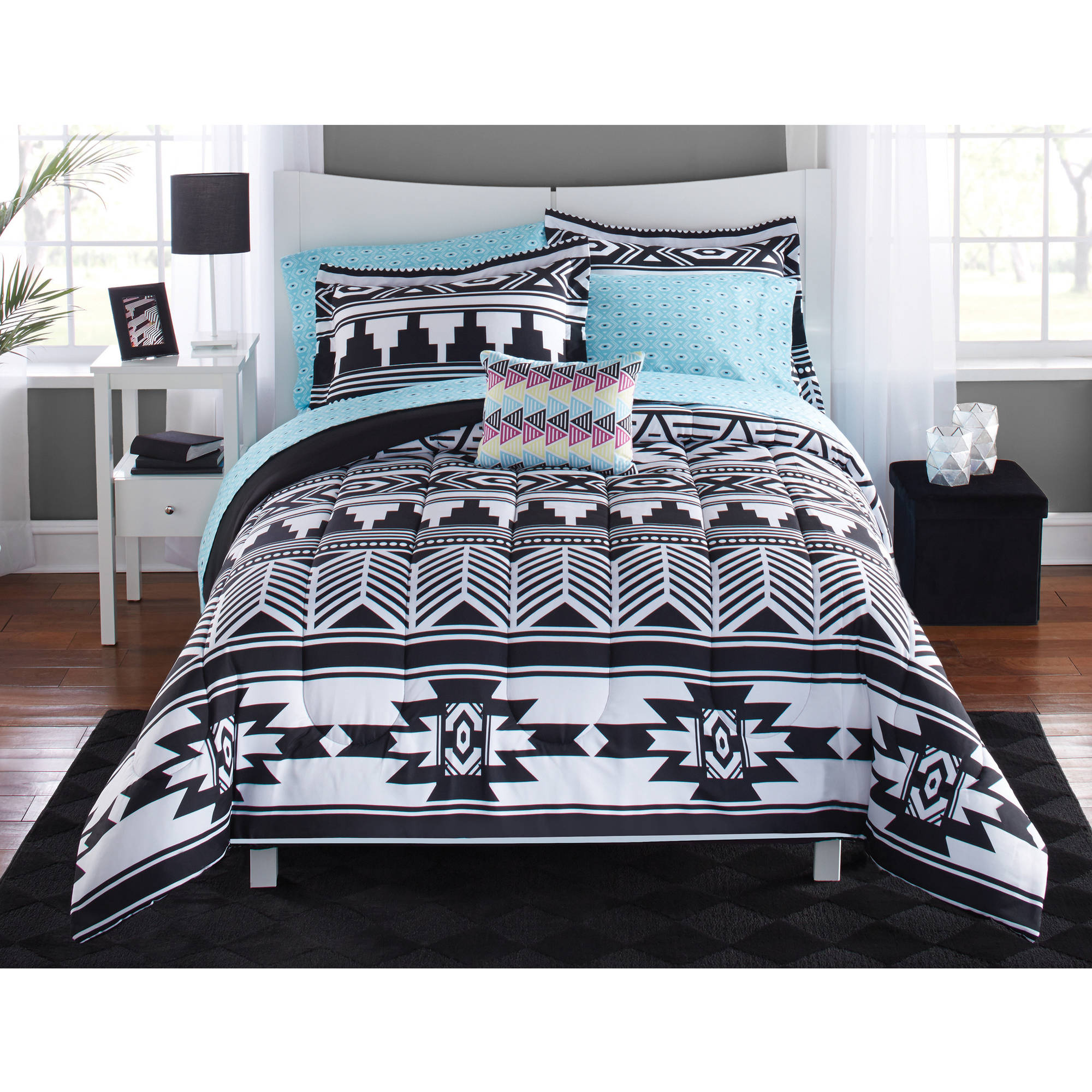 mainstays tribal black and white bed in a bag bedding set walmartcom