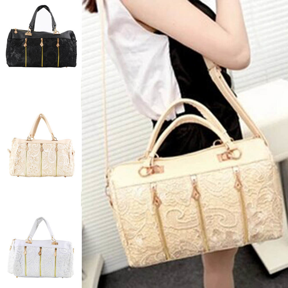 Fashion Women PU Leather Lace Messenger Bag Large Capacity Tote Shoulder Bag Handbag Hold Cash Coin Keys Cards