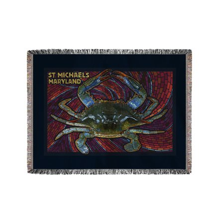 St. Michaels, Maryland - Blue Crab Paper Mosaic - Lantern Press Poster (60x80 Woven Chenille Yarn Blanket) - Paper Lanterns Michaels