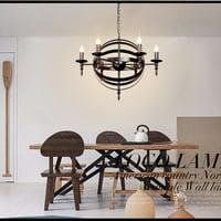 Industrial Metal Pendant Light, 6-Light Spherical Pendant Light, Rustic Chandelier Vintage Hanging Cage Globe Ceiling Light Fixture for Kitchen Dining Room Farmhouse Hallway