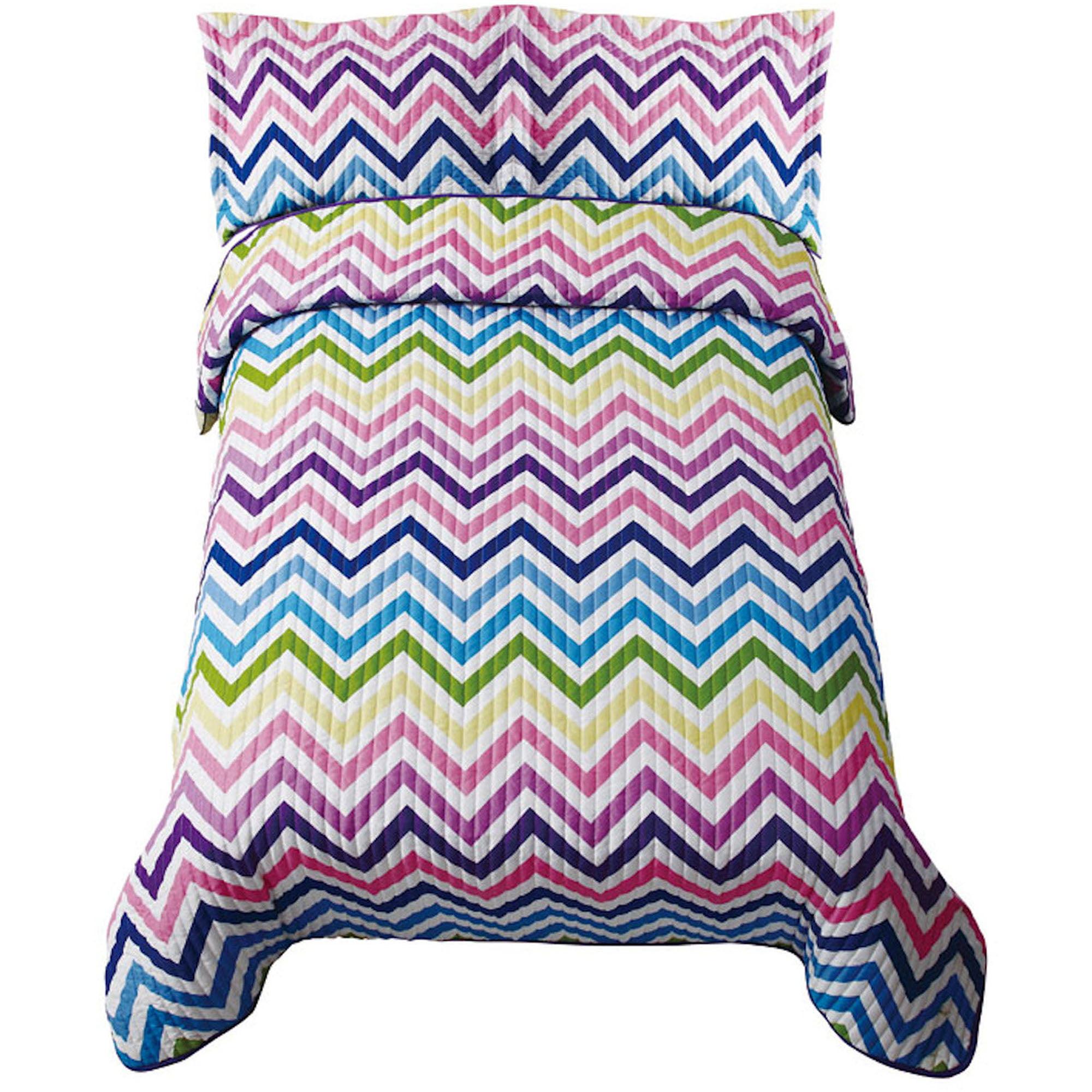Zig Zag Sorbet Twin Bedding Quilt Set, Pink