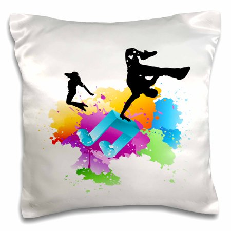 3dRose Blue Musical Note On A Multi Color Splash Grunge Background With Silhouettes Of Hip Hop Dancers - Pillow Case, 16 by