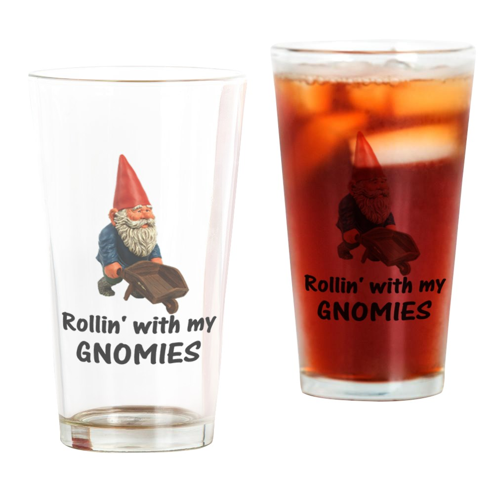 CafePress Rollin' With Gnomies Pint Glass, Drinking Glass, 16 oz. CafePress by