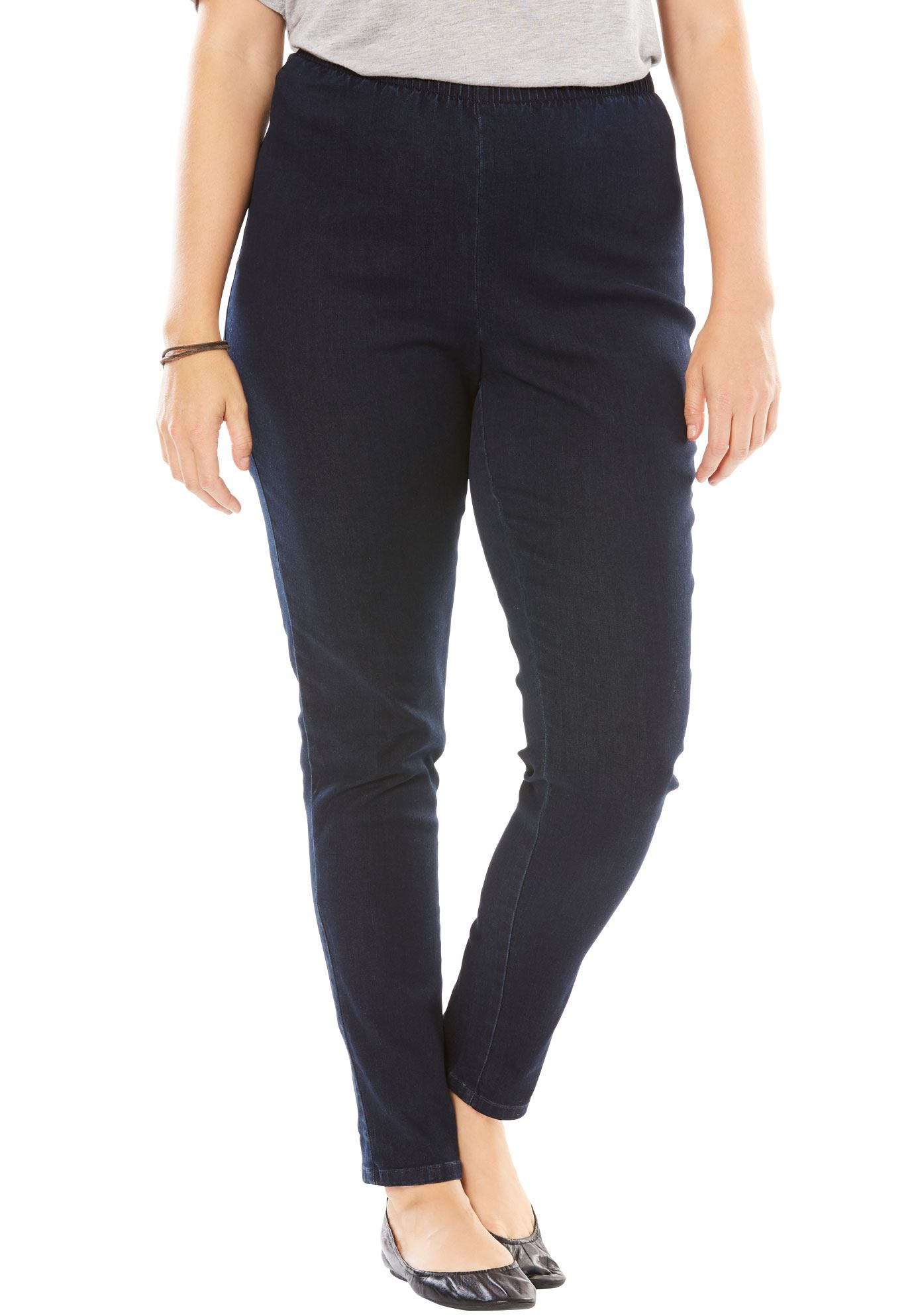 Woman Within Plus Size Tall Fineline Denim Jegging