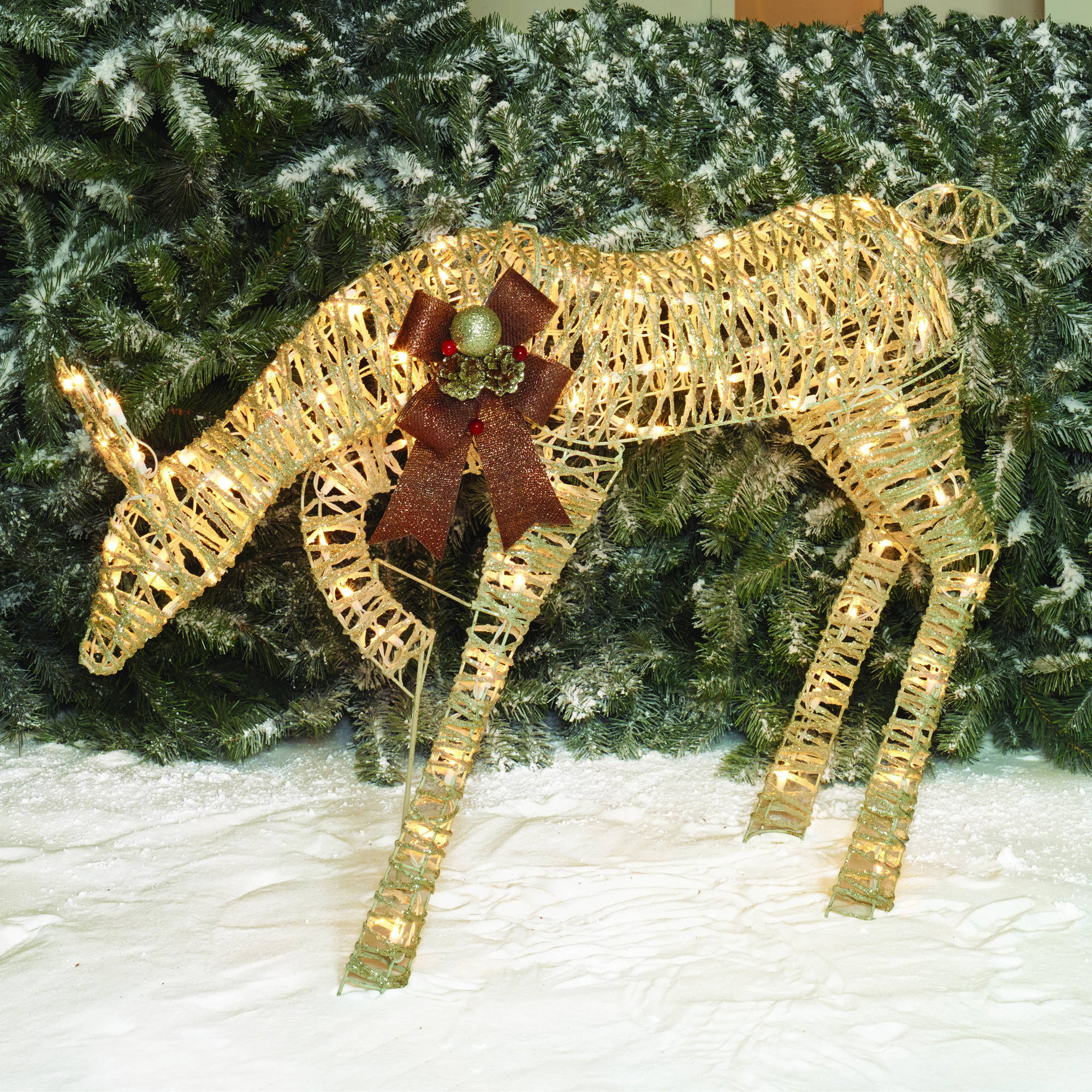 "Holiday Time Christmas Decor 40"" Glittering Natural Grapevine-Look Champagne Feeding Doe Sculpture"