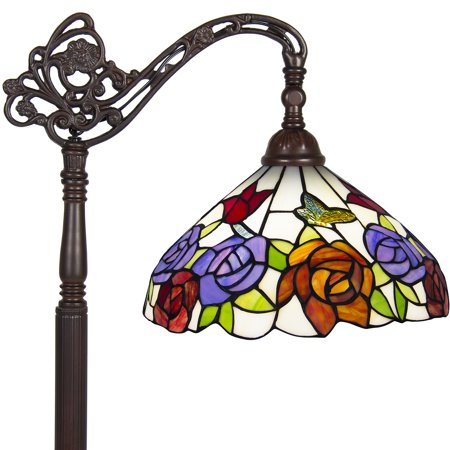 Large Tiffany Pendant Lamp (Best Choice Products 62in Vintage Tiffany Style Accent Floor Light Lamp w/ Rose Flower Design for Living Room, Bedroom -)
