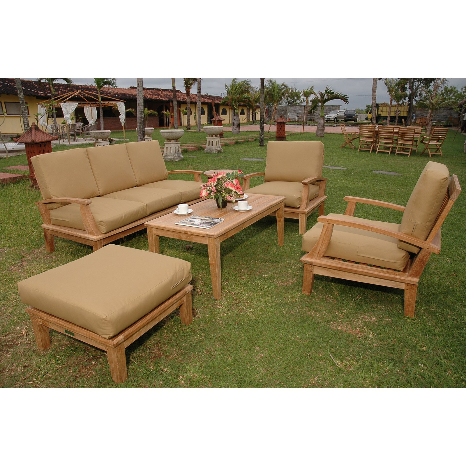 Anderson Teak Brianna Wooden 5 Piece Sofa Patio Conversation Set