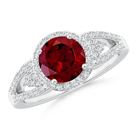 Valentine Jewelry Gift - Split Shank Round Garnet Halo Ring with Cluster Diamonds in Platinum (7mm Garnet) - SR1089GD-PT-AAA-7-12.5
