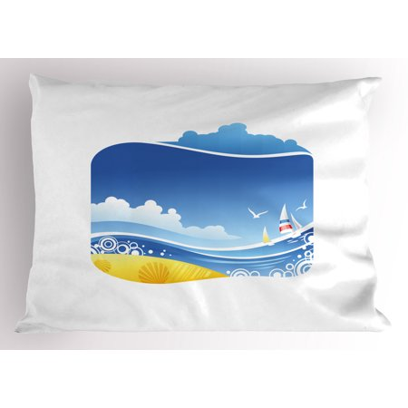 Beach Pillow Sham Exotic Wavy Sea with Seashells Wind Boats Seagulls Open Skyline Cartoon Style, Decorative Standard Queen Size Printed Pillowcase, 30 X 20 Inches, Blue Yellow White, by Ambesonne
