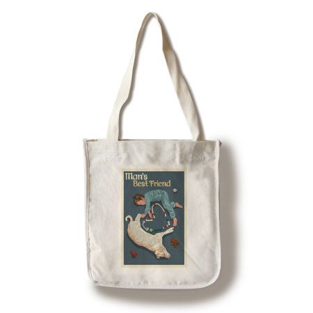 Man's Best Friend - Lantern Press Poster (100% Cotton Tote Bag -