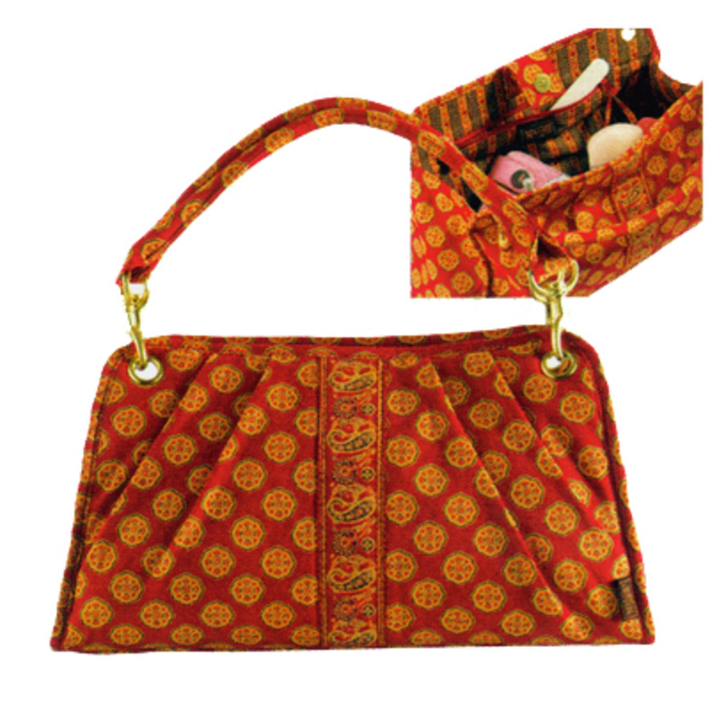 Maggi B French Country Red Mosaic Quilted East West Handbag