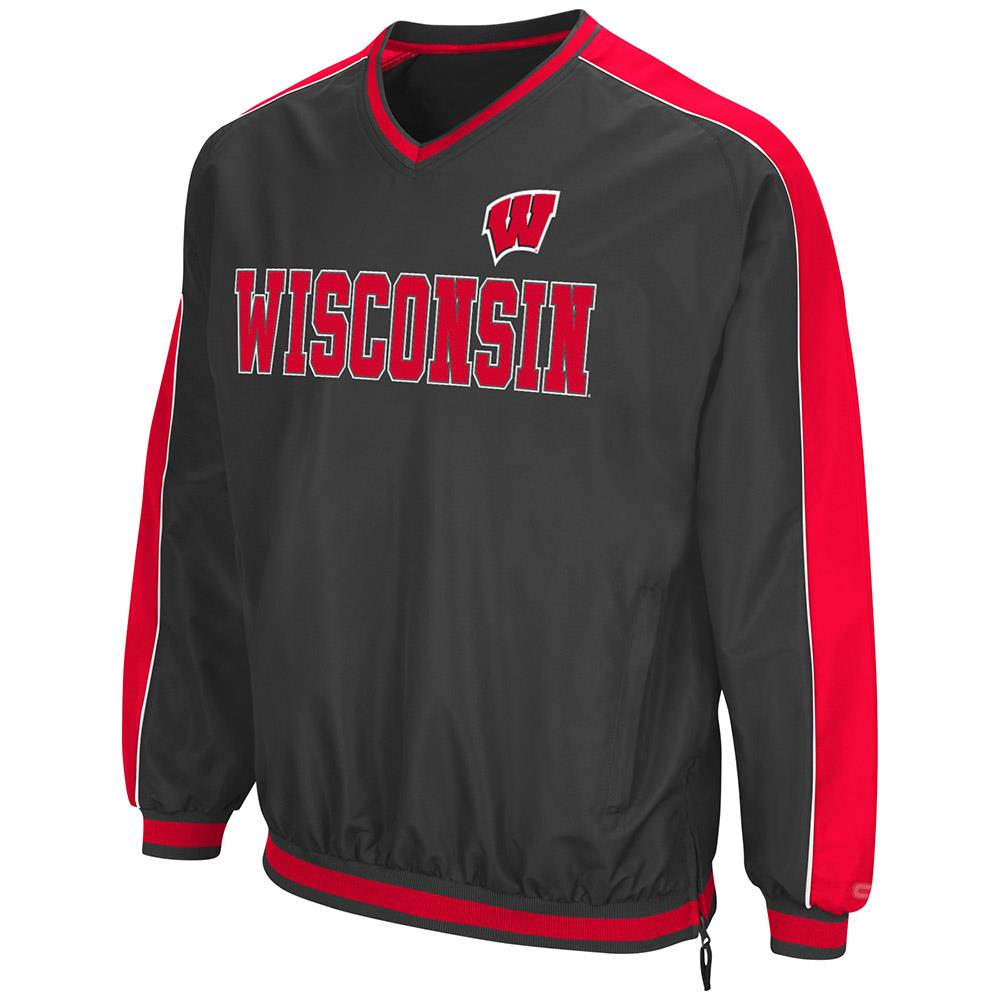Mens Wisconsin Badgers Attack Line Wind Breaker Jacket by Colosseum