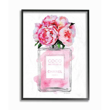 The Stupell Home Decor Collection Glam Perfume Bottle V2 Flower Silver Pink Peony Framed Giclee Texturized Art - Framed Giclee Art