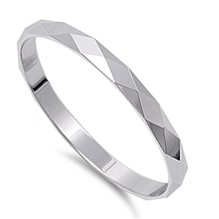 Men's Women's Diamond-Cut 2mm Band Classic Ring ( Sizes 3 4 5 6 7 8 9 10 11 12 13 14 ) .925 Sterling Silver Rings by Sac Silver (Size 14)