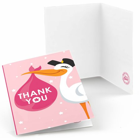 Girl Special Delivery - Pink It's A Girl Stork Baby Shower Thank You Cards (8 (Special Delivery Stork)