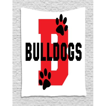 English Bulldog Tapestry, Paw Print Silhouette and Giant B Letter Background Custom Logo Design, Wall Hanging for Bedroom Living Room Dorm Decor, 40W X 60L Inches, Red Black White, by Ambesonne](Custom Tapestry)