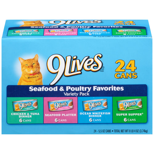 9Lives Seafood and Poultry Favorites Wet Cat Food Variety Pack, 5.5-Ounce Cans (Pack of 24)