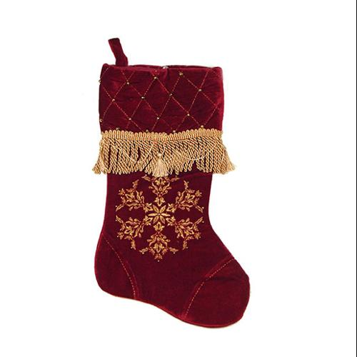 "17"" Red Christmas Stocking with Gold Fringe, Tassels, Beads and Snowflake Design"