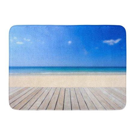 Beach Roll Up Mat (GODPOK Blue Bench White Deck Close Up Wooden Flooring and Tropical Beach Brown View Wood Rug Doormat Bath Mat 23.6x15.7)