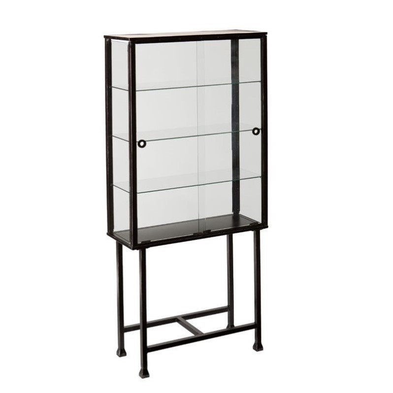 Southern Enterprises Metal-Glass Sliding Door Display Cabinet in Black