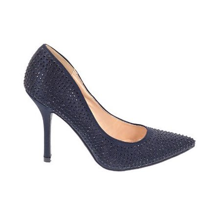 Nina Satin Pumps - Sage by Promise, Black Satin Pump Rhinestone Crystal Studded Close Toe Women Promise Shoes