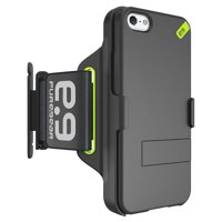 """iPhone 5 Armband/Case, PUREGEAR HIP SPORTS BLACK/LIME ARMBAND + CASE/COVER STAND FOR APPLE iPHONE 5 5s SE (Large, 9.5-15"""" Arm) (Adjustable, Card Slot, Key Holder, Antibacterial, Cord Winder)"""