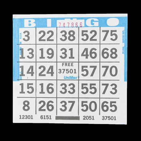 1 on Blue Bingo Paper Cards - UniMax Paper Series - 4 Inch Square Size - 500 Disposable Cards per Pack - No Duplicate - Paper Bingo Cards