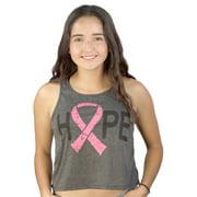True Rock Hope Breast Cancer Ribbon Women's Charcoal Crop Tank NEW Sizes S-L