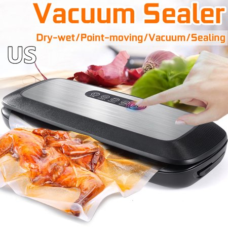 Food Vacuum Sealer Bag Packing Machine, Touch Screen, With 10 Vacuum Bags For Food Preservation Keep food fresh longer with the Seal-a-Meal Vacuum Sealer. This system is designed to preserve foods using a vacuum sealer and bag system. It removes the air inside the bag to create a tight seal around food. The multi-ply bag material is designed to lock air out and prevent freezer burn. The bags are puncture and tear resistant and durable enough to microwave and also to simmer. The sealing operation is quick and easy. This Seal-a-Meal vacuum sealer features a removable, dishwasher-safe drip tray for easy clean up. With these bags, it's easy to create snack packs or entire meals and store them away.Specification:Machine function:Automatic vacuum packaging, stop manual single sealing, external pumping, dehumidificationMaximum sealing width:30cmVoltage:100-240VSize:37X15X7cmPowers:130WColor:BlackFeatures:1.External vacuum, external pipe design, external suction pipe, suitable for all kinds of vacuum storage tanks, clothing storage bags.2.Cover lock and lock design, effectively fasten the cover seal and make it easy to press down and tighten the two sides to ensure reliable and labor-saving.3.Sealing, sealing design, effective vacuum sealing operation is simple to keep your food lasting.4.Control performance, button design, and smart touch screen buttons make the control process easier.A Roll Of Vacuum BagSpecification:Size5.9x196 / 7.9x196 / 9.9x196 InchesColorTransparentMaterialPENote:Manual measurement of size. If there is any error, please forgive if there is errorPackage included:1 * Vacuum Sealer1 * External Pipe5 * 12X20cm Vacuum bag5 * 20X25cm Vacuum bag1 * User Manual1 * Powers Cord