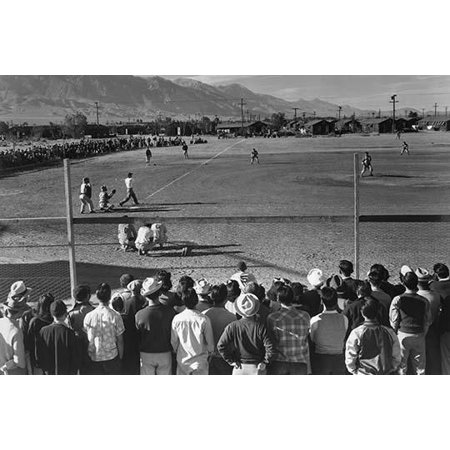 Japanese Americans observe an amateur baseball game in progress one-story buildings and mountains in the background  Ansel Easton Adams was an American photographer best known for his (Best Mountains In Japan)