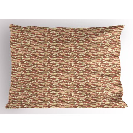 Abstract Pillow Sham Town Houses Pattern with Cool Tiled Roof Urban Architecture City Life, Decorative Standard Size Printed Pillowcase, 26 X 20 Inches, Cream Coral Chocolate, by Ambesonne