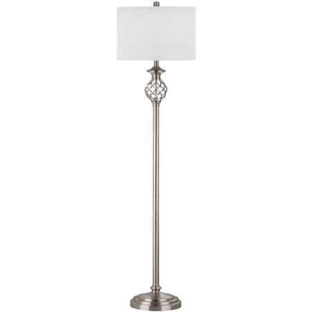 Safavieh Sophia Floor Lamp With Cfl Bulb  Nickel With Off White Shade