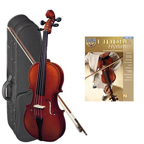 Strunal 220 Student Violin Fiddle Hymns Play Along Pack - 3/4 Size European Violin w/Case & Play Along Book