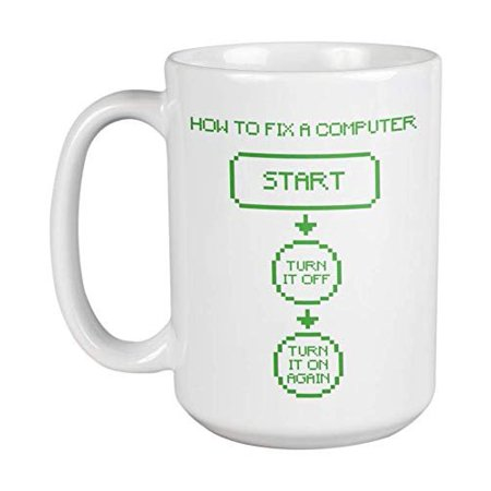 Tech Coffee (How To Fix A Computer Funny Troubleshooting Coffee & Tea Gift Mug For An IT Tech Support, Computer Engineer, Call Center Agent, And Office Coworkers (15oz) )