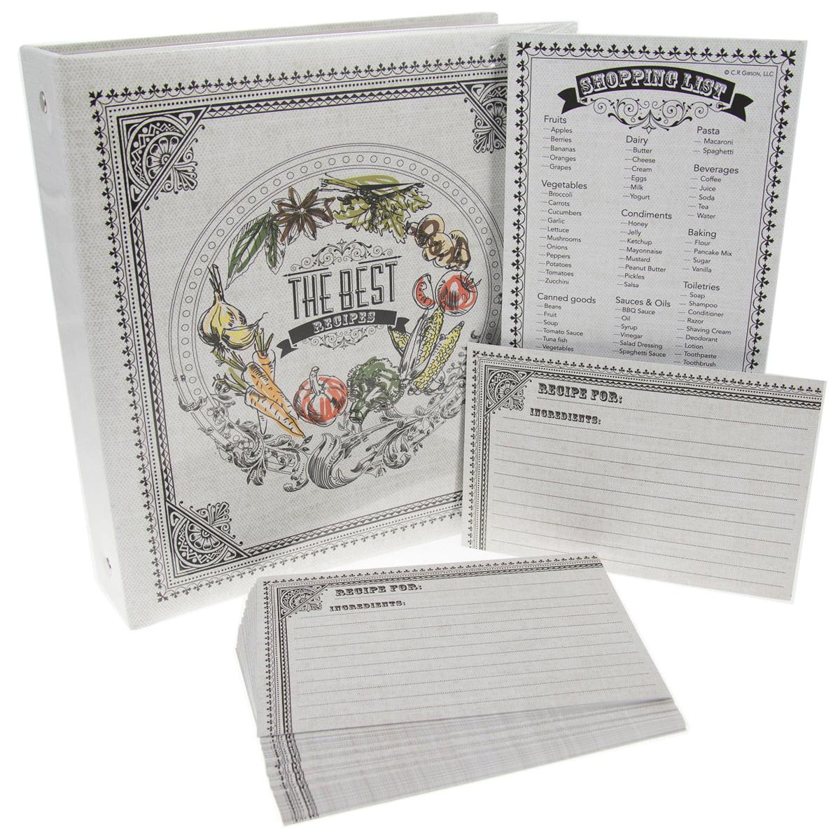 C.R. Gibson Recipe Binder Bundle Pocket-Pages 4x6 Cards