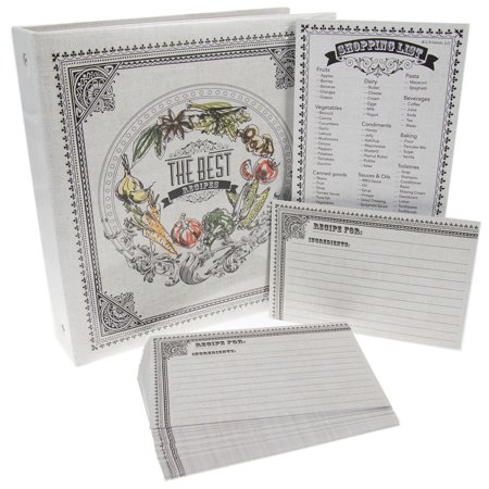 Recipe Organizer Binder (C.R. Gibson Recipe Binder Bundle Pocket-Pages 4x6 Cards Dividers Magentic Grocery Shopping Lists Notepad )