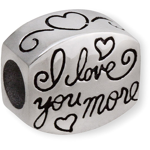 """Connections from Hallmark Stainless Steel """"I Love You More"""" Charm"""