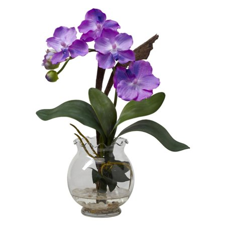 Mini Vanda Silk Flower Arrangement With Fluted Vase  Purple