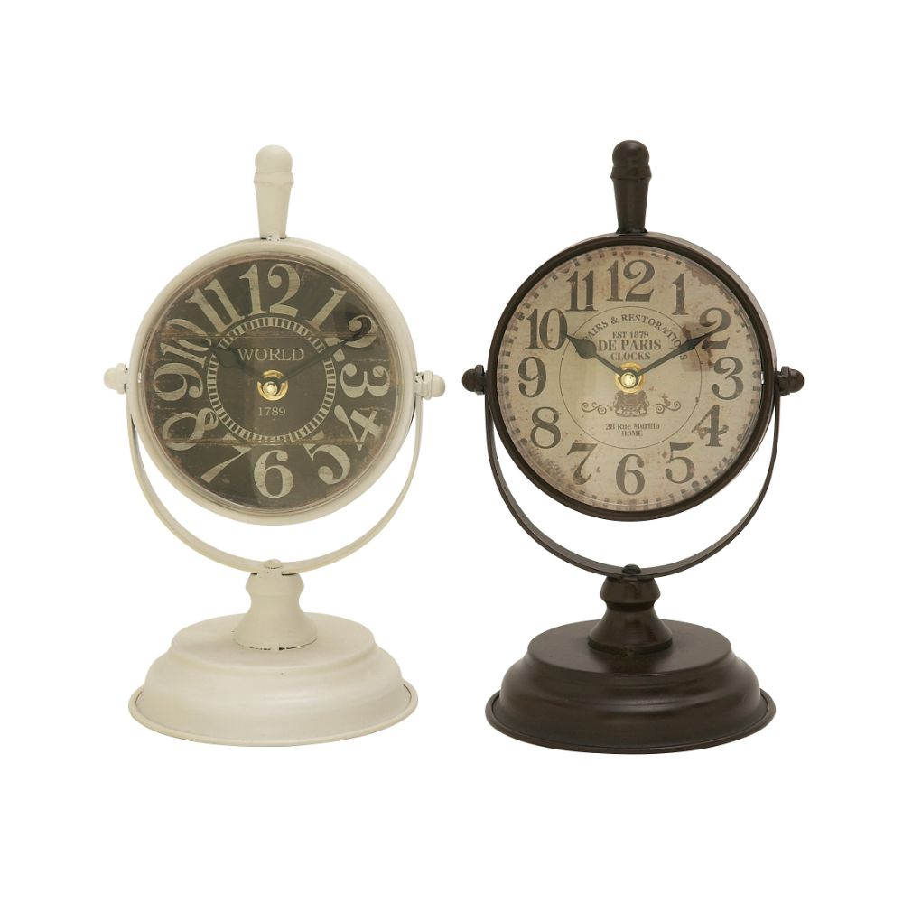 Classic Metal Table Clock Assorted 2 by Benzara